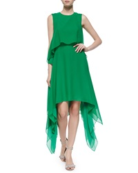 Bcbgmaxazria Marilee Tiered Silk Dress Light Kelly Green