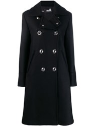 Love Moschino Double Breasted Coat Black