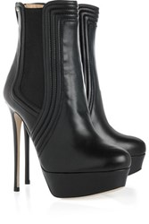 Valentino Leather Platform Ankle Boots Black