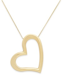 Macy's Angled Heart Pendant Necklace In 14K Gold Yellow Gold