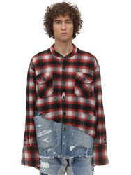 Greg Lauren Boxy Plaid Cotton And Denim Shirt Red