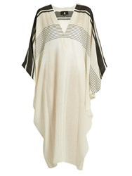 Su Pipa V Neck Cotton Kaftan Black Stripe