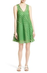 Tracy Reese Women's Directional Stripe Flared Tank Dress Grass