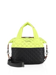 M Z Wallace Water Resistant Quilted Satchel Neon Yellow