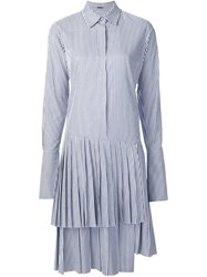 Adam By Adam Lippes Pleated Shirt Dress Blue