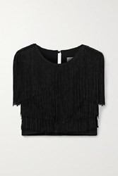 Miguelina Adisa Cropped Fringed Jersey Top Black