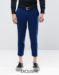 Only And Sons Skinny Cropped Trousers With Stretch Blue
