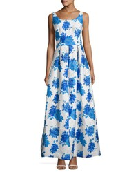 Js Collections Scoop Neck Floral Jacquard Gown White Blue