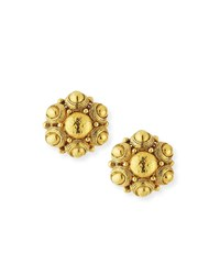 Jose And Maria Barrera Hammered Button Earrings Gold