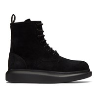 Alexander Mcqueen Black Suede Lace Up Boots