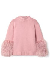 Sally Lapointe Shearling Trimmed Merino Wool And Cashmere Blend Sweater Baby Pink