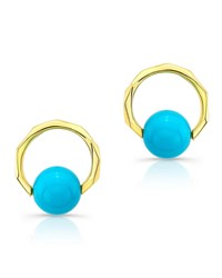 Ron Hami 14K Carved Earrings W Turquoise