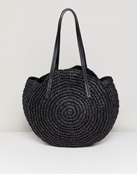 Warehouse Circle Straw Bag In Black