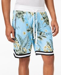 American Stitch Men's Floral Print Mesh Drawstring Shorts Blue