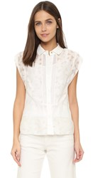 O'2nd Picasso Burnout Button Down Blouse Ivory