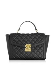 Love Moschino Heart Quilted Black Eco Leather Satchel Bag