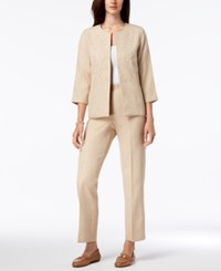 Alfred Dunner Petite Straight Leg Pull On Pants Almond