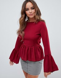 Prettylittlething Tie Back Peplum Blouse In Burgundy Red