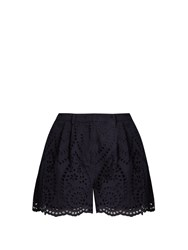 Zimmermann Broderie Anglaise Cotton Shorts Navy