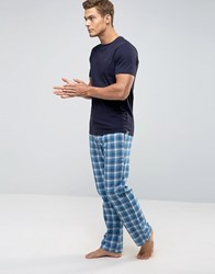 Ted Baker T Shirt And Lounge Pants Set In Flannel Check Blue