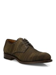 Aquatalia By Marvin K Vance Woven Leather Derby Shoes Dark Brown