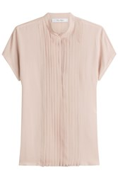 Max Mara Short Sleeved Silk Blouse Beige