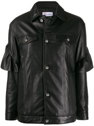 Red Valentino Ruffle Trim Leather Jacket Black