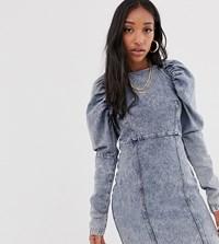 Reclaimed Vintage Inspired Denim Dress With Puff Sleeve Multi