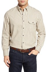 Nordstrom Men's Shop Classic Big And Tall Fit Gingham Flannel Sport Shirt Ivory Egret Tan Gingham