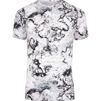 River Island Mens White Marble Print Muscle Fit T Shirt