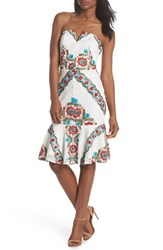 Adelyn Rae Hailey Embroidered Strapless Lace Dress White Multi