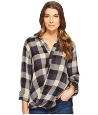 Blank Nyc Multi Plaid Drape Front Shirt In Black Watch Black Watch Women's T Shirt