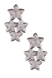 Sterling Silver Cz Chandelier Star Drop Earrings No Color