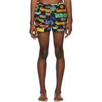 Gucci Black And Multicolor Metal Mix Swim Shorts