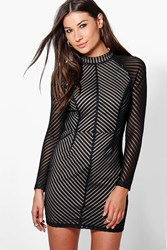 Boohoo Kylie Mesh Stripe Bodycon Dress Black