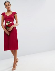 Asos Wedding Lace And Pleat Midi Dress Wine Red