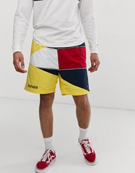 Tommy Jeans Summer Heritage Capsule Shorts In Yellow With Large Flag Logo