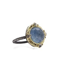 Armenta 18K Yellow Gold And Blackened Sterling Silver Old World Eternity Blue Quartz Triplet Diamond And White Sapphire Ring 100 Exclusive Blue Multi