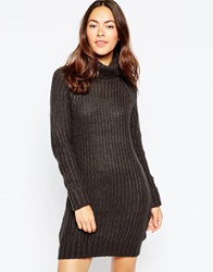 Brave Soul High Neck Jumper Dress With Long Sleeves Navy