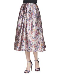 Phoebe Couture Floral Print Jacquard Ball Skirt Multi