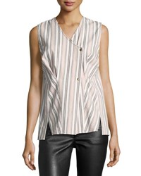 Isabel Marant Striped Cotton Wrap Top Ecru