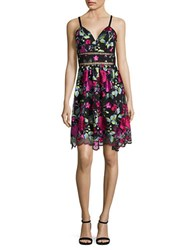 Nicole Miller New York Embroidered Scalloped Dress Black Multicolor