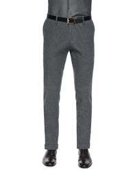 Hugo Boss Flat Front Cotton Blend Trousers Gray