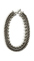 Alexander Wang Ball Chain Curb Chain Necklace Silver