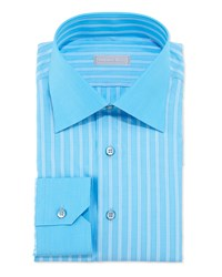 Stefano Ricci Woven Multi Pinstripe Dress Shirt Aqua White Blue