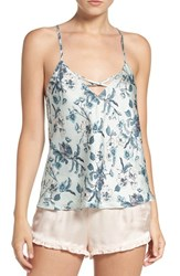 Chelsea 28 Women's Chelsea28 Cross Neck Satin Camisole Green Hush Botanical Floral