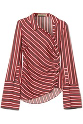 Hellessy Wyatt Asymmetric Striped Silk And Cotton Blend Blouse Red Gbp