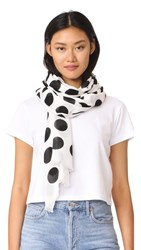 Kate Spade New York Grid Dot Oblong Scarf Cream