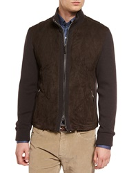 Ermenegildo Zegna Quilted Suede Jacket With Knit Sleeves Brown