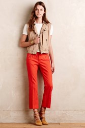 Anthropologie Crop Flare Charlie Trousers Red